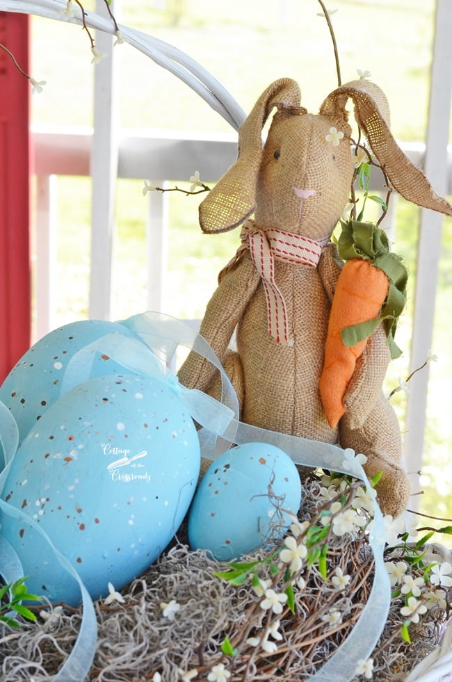 Burlap bunny in an Easter basket | Cottage at the Crossroads