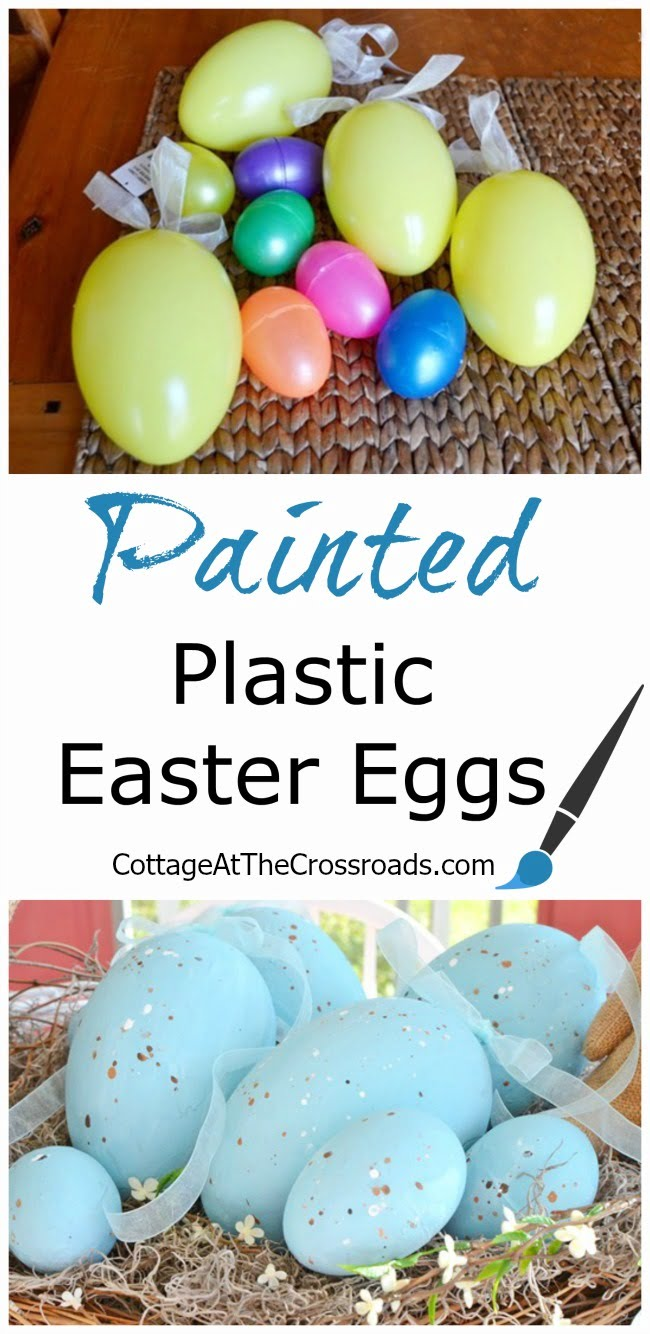 Painted Plastic Easter Eggs in a Made-Over Basket | Cottage at the Crossroads