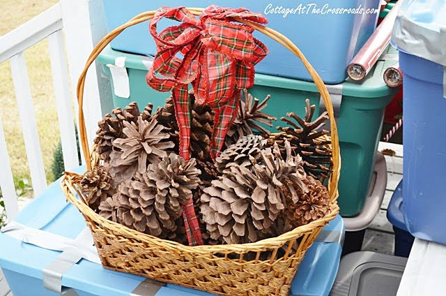 large wicker basket turned into an Easter basket | Cottage at the Crossroads