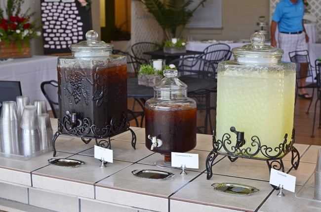 beverage containers at a golf benefit party