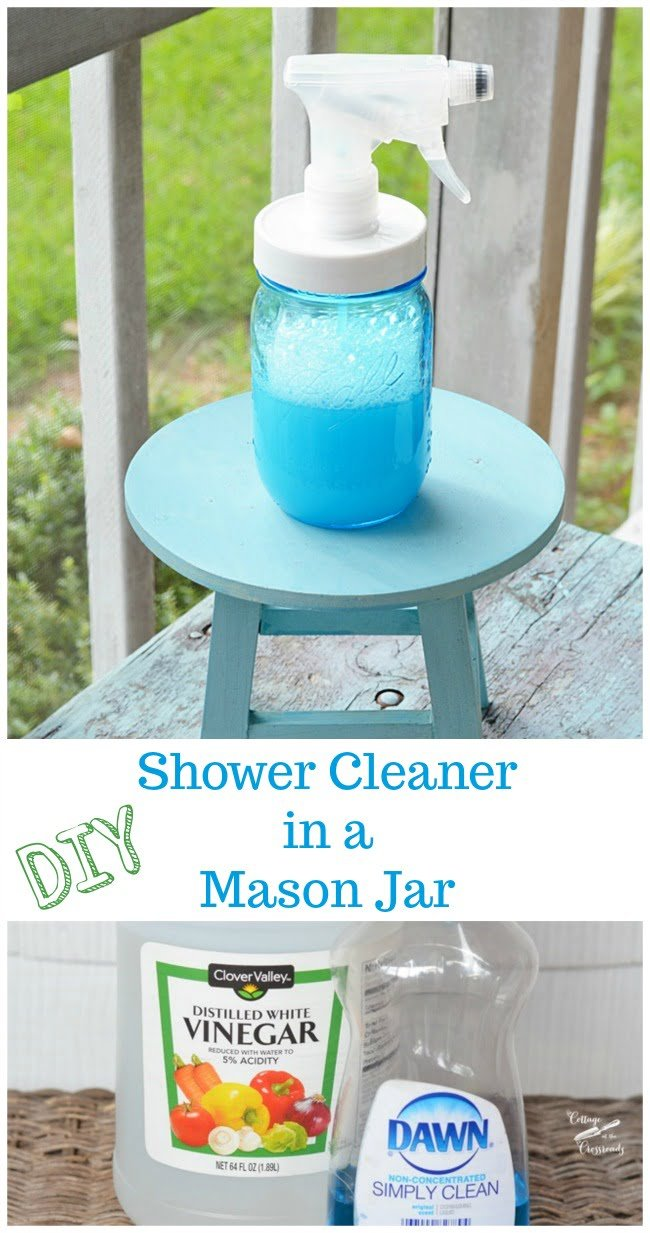 Mix up this DIY shower cleaner in a Mason jar. This stuff works like magic to melt away oily soap scum!