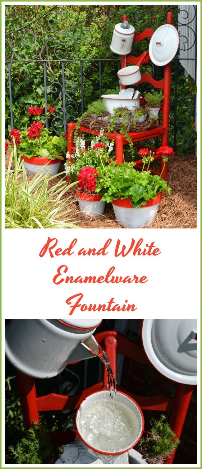 Vintage red and white enamelware chair fountain | Cottage at the Crossroads