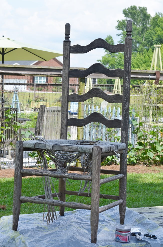 old ladderback chair used to create a fountain
