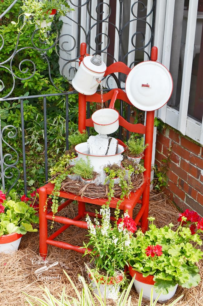 vintage enamelware chair fountain from Cottage at the Crossroads