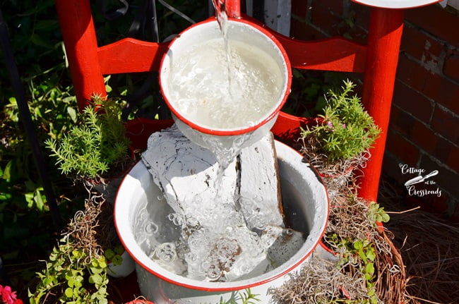 enamelware chair fountain | Cottage at the Crossroads