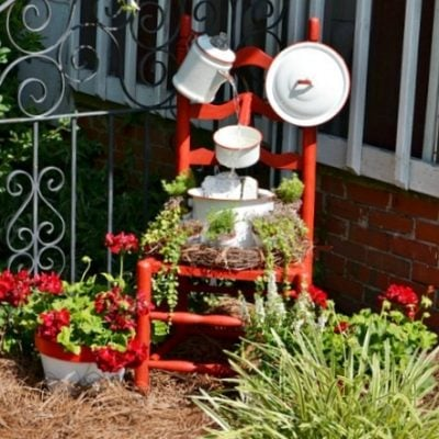 enamelware chair fountain