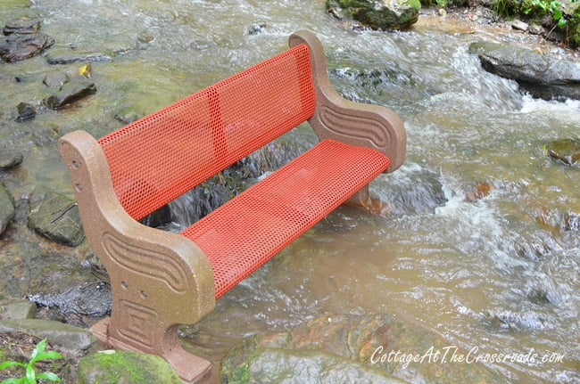 bench installed in Moonshine Creek