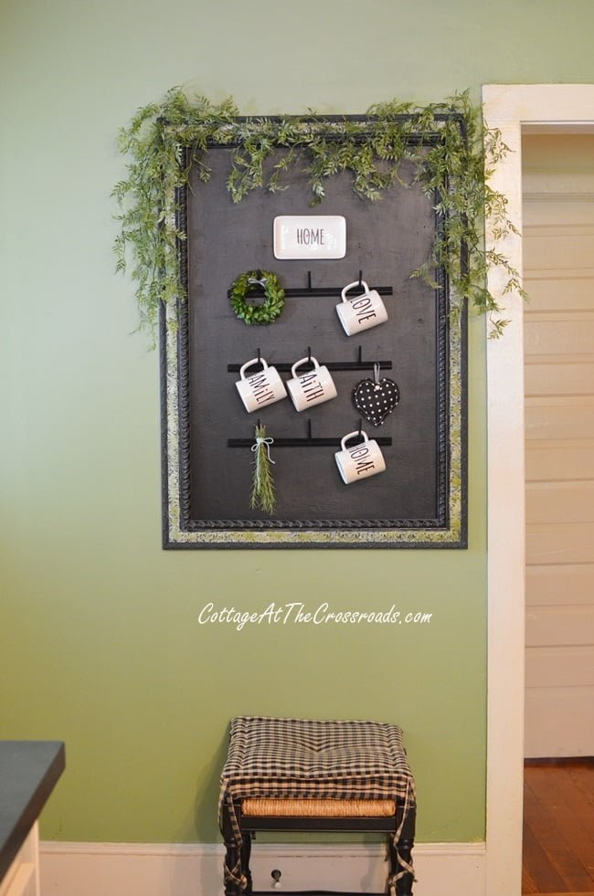 DIY Farmhouse Style Mug Rack made from a wooden thread rack | Cottage at the Crossroads