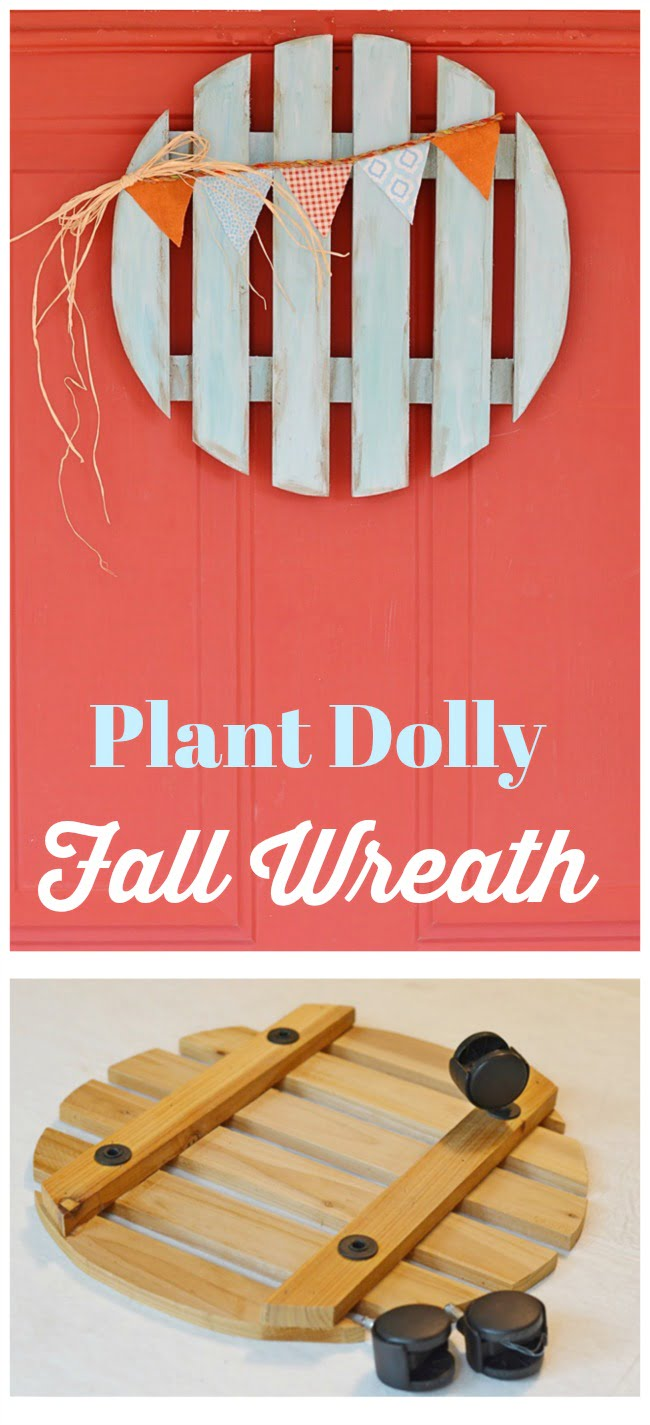 An old wooden plant dolly gets repurposed into a fall wreath