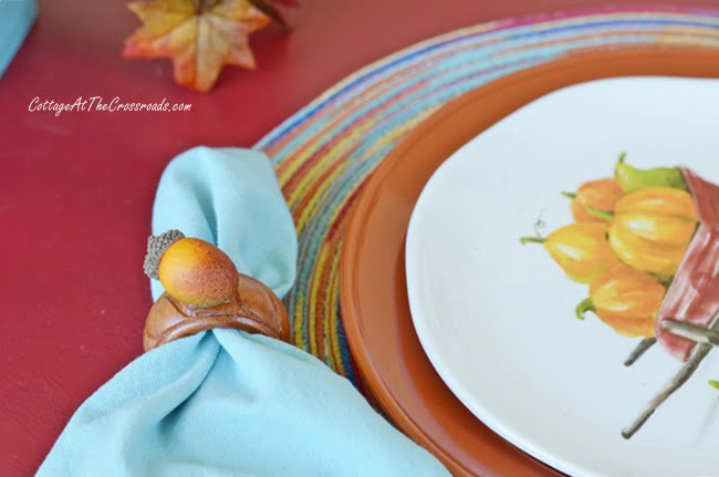 Aqua and other autumn colors used in a tablescape