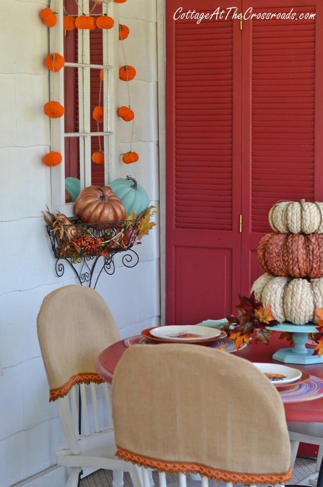 aqua autumn porch