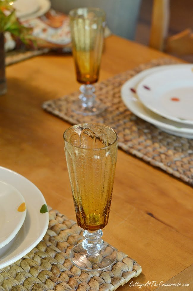 gold stemware on a fall farmhouse table
