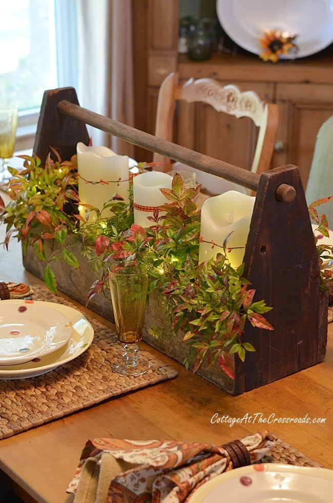 a traditional fall farmhouse tablescape-cottage at the Crossroads