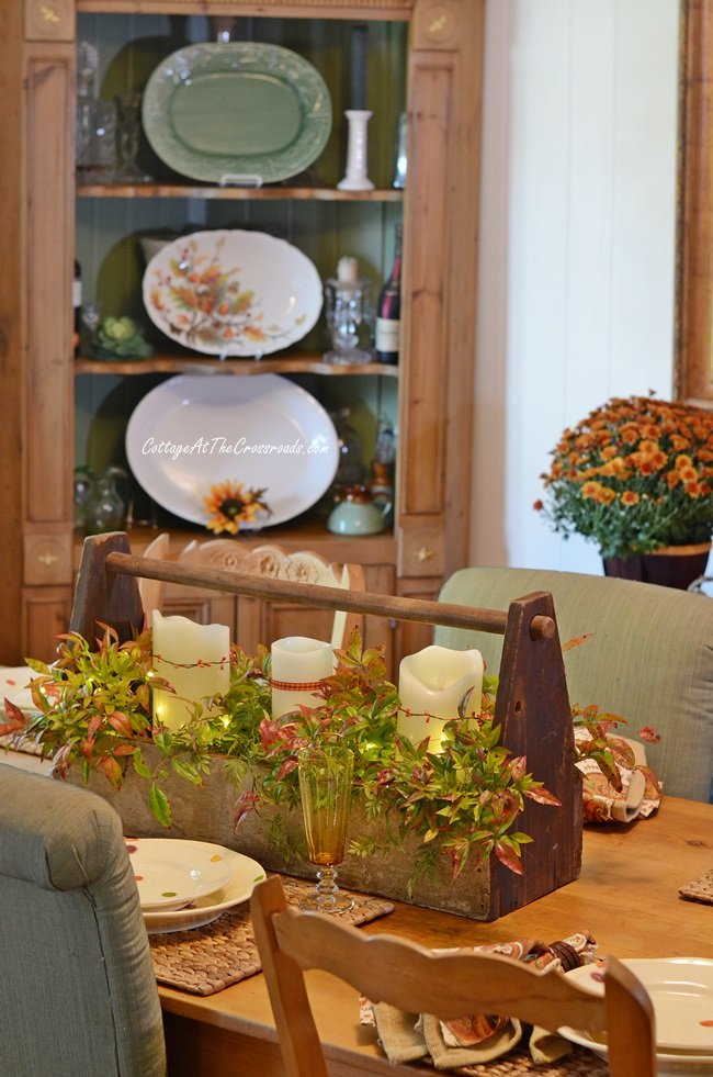a traditional fall farmhouse tablescape