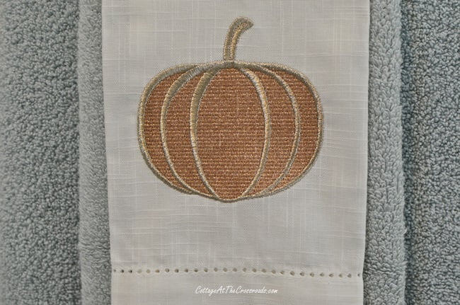 Fall Bathroom Update with a pumpkin embroidered linen towel