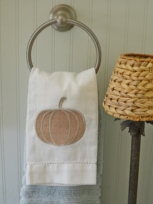 decorative fall towel used in a fall bathroom update