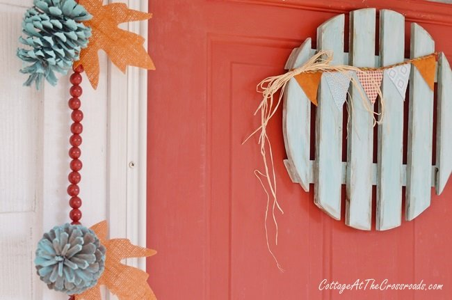 repurposed plant dolly turned into a fall wreath