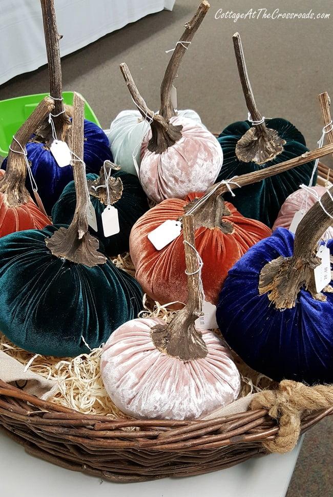 handmade velvet pumpkins in a basket