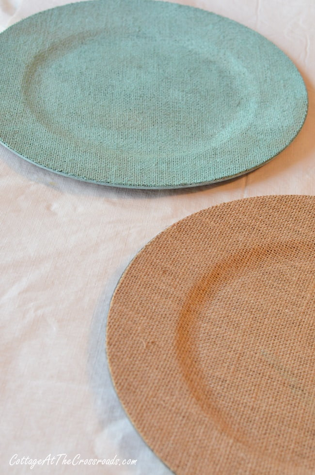 Painted Burlap Chargers - Cottage at the Crossroads
