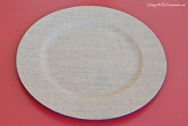 natural colored burlap charger