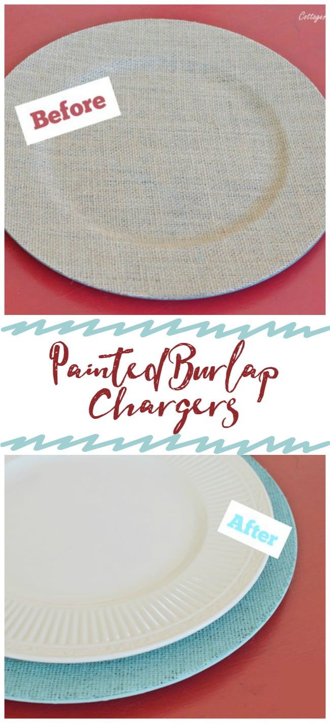 You can create painted burlap chargers in any color you'd like!