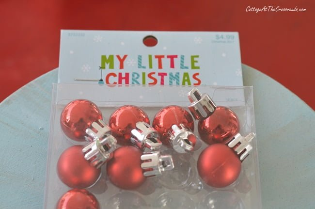 red Christmas ornaments for miniature trees