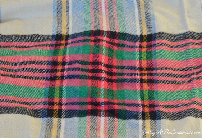 plaid flannel fabric used to cover a lampshade