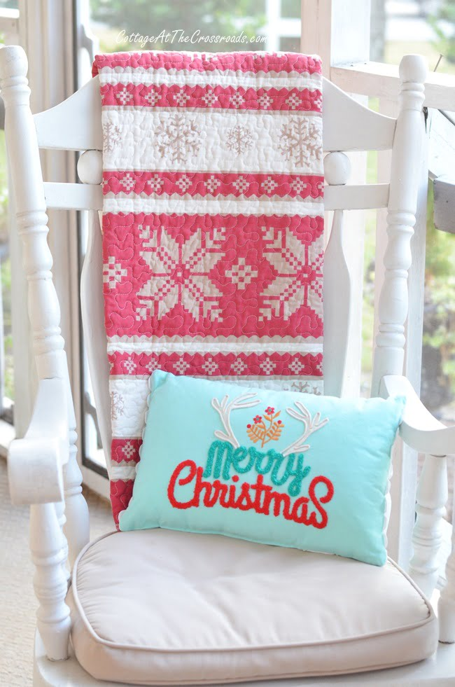 aqua and red Christmas pillow