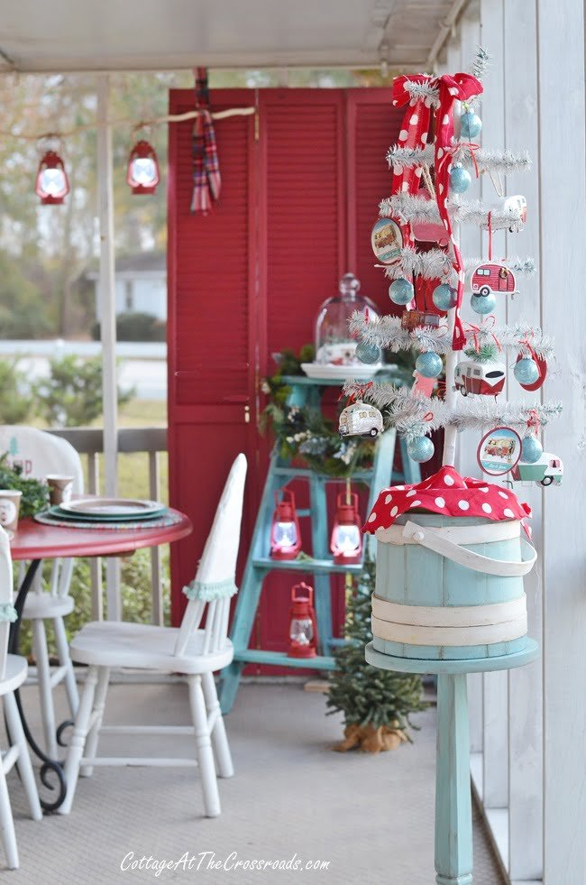 vintage camper Christmas porch