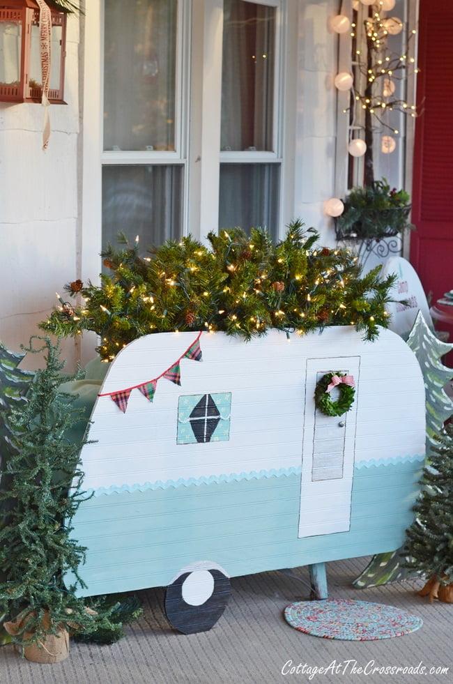 vintage camper Christmas front porch
