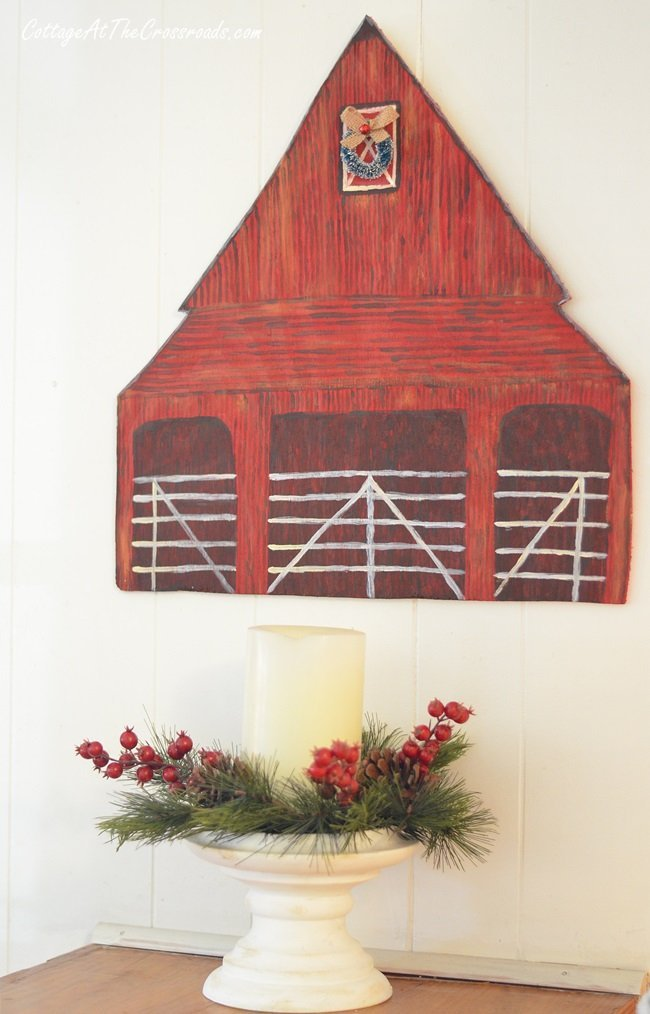 wooden red barn wall art
