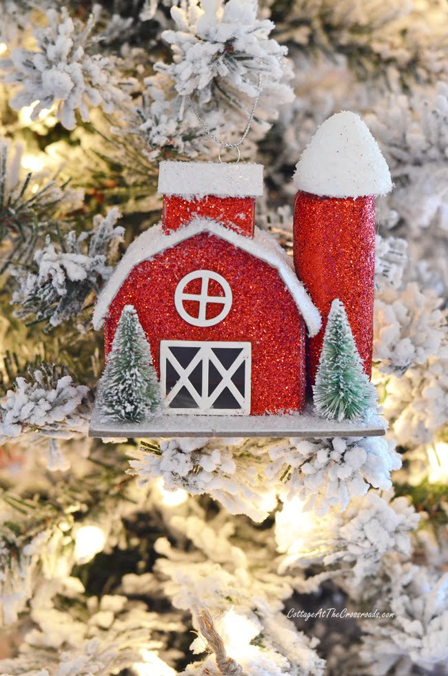 red barn Christmas ornament