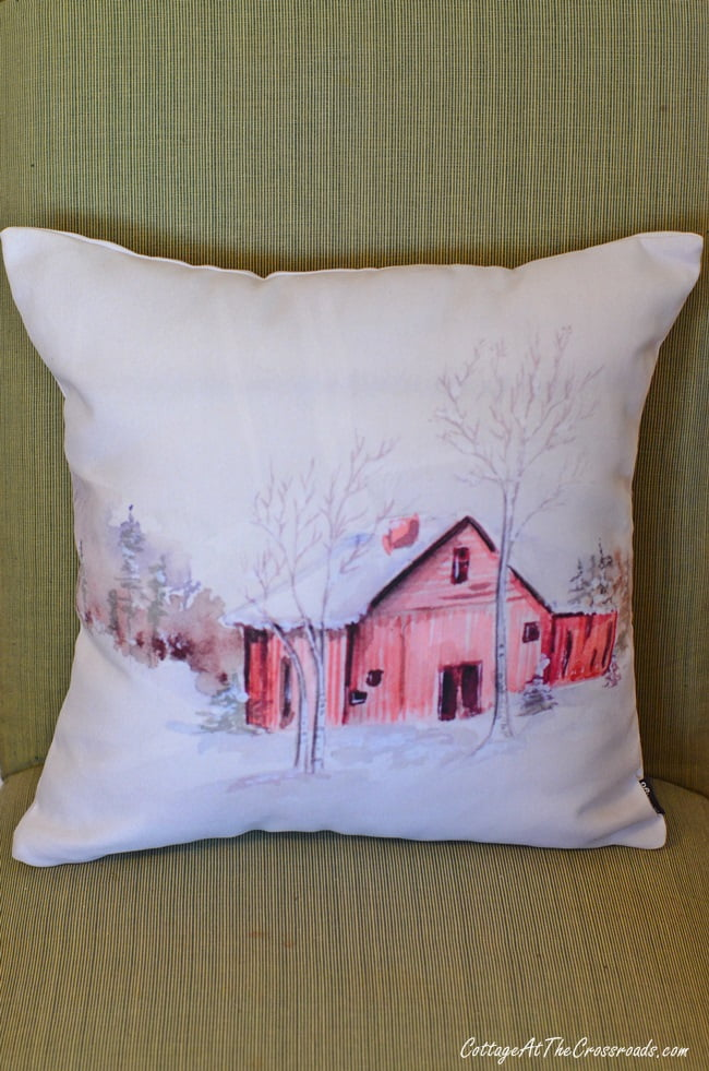 red barn pillow