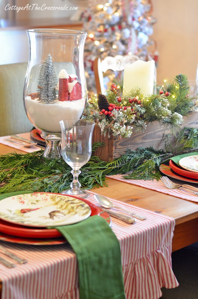 red barn Christmas tablescape