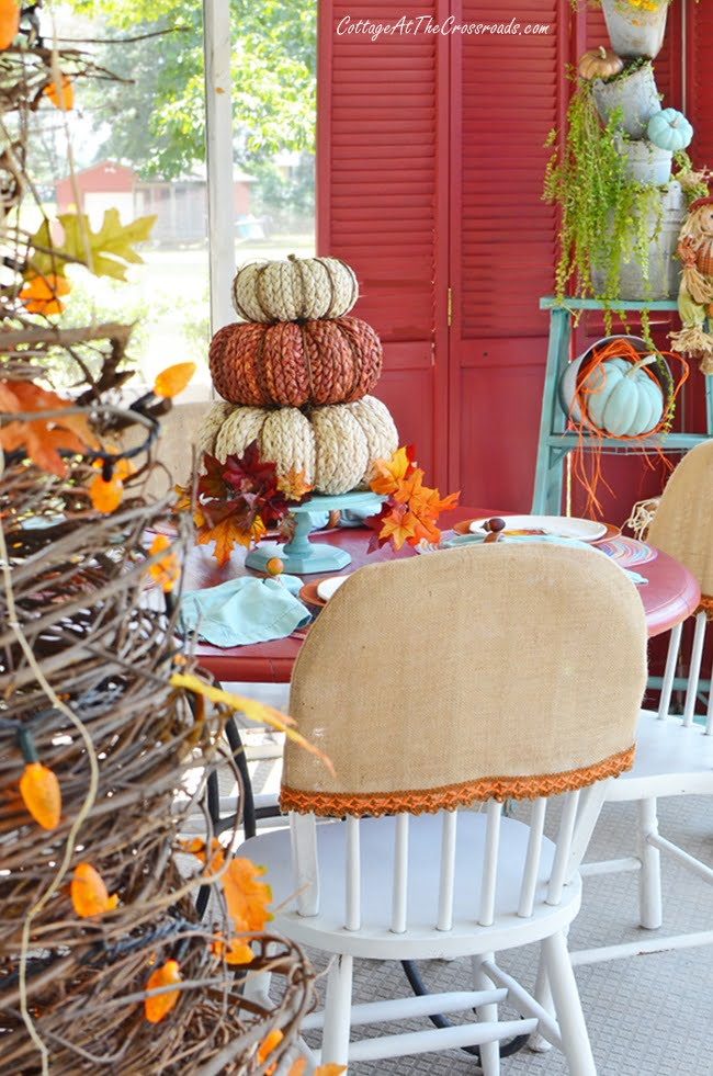 chair covers used on an autumn porch