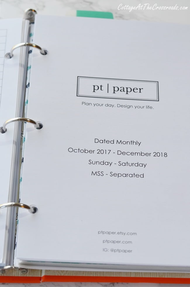preprinted and prepunched calendar pages for a mini binder planner