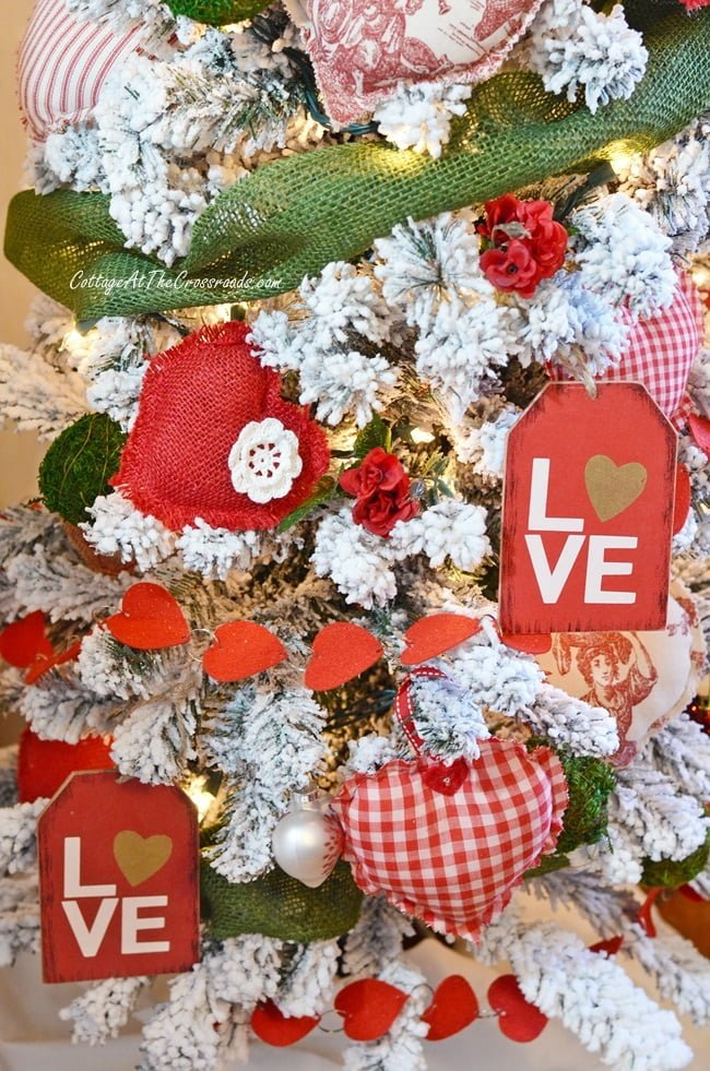 fabric hearts on a Valentine's Day tree