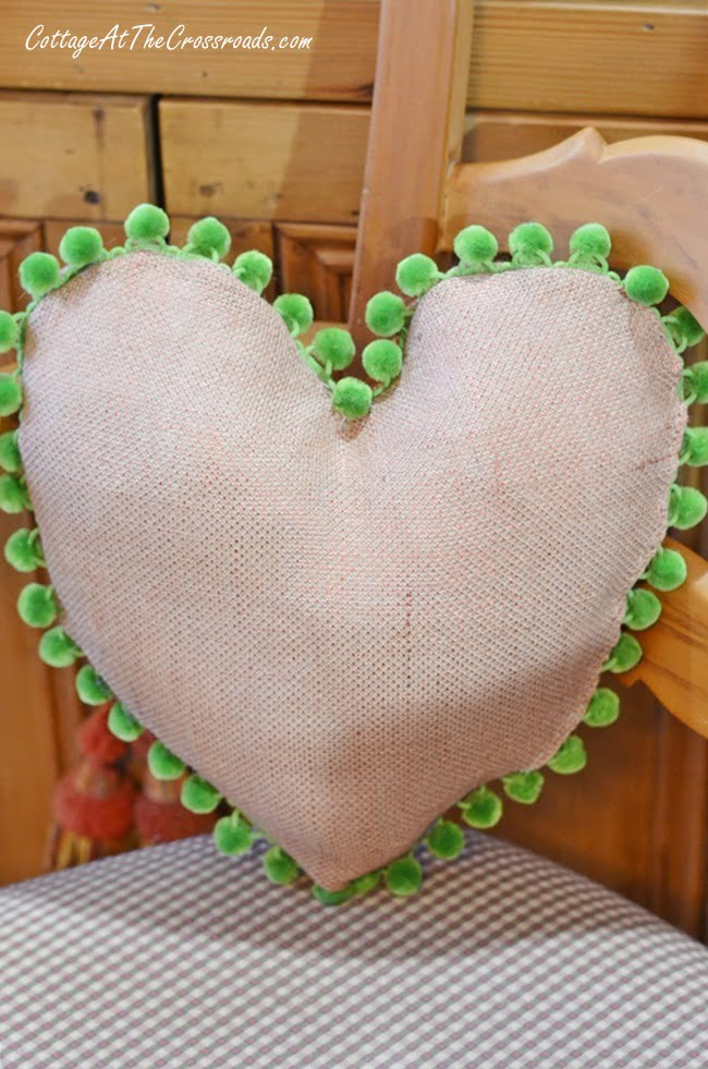 DIY Heart Shaped Pillow with Pom Pom Trim