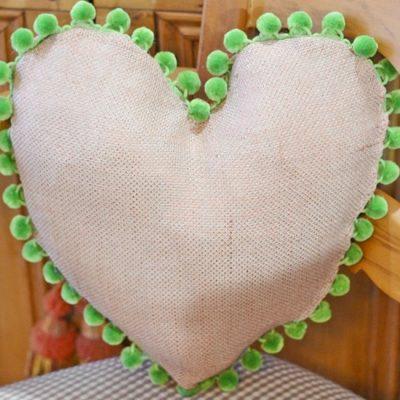 How to Make a Heart Shaped Pillow with Pom Pom Trim