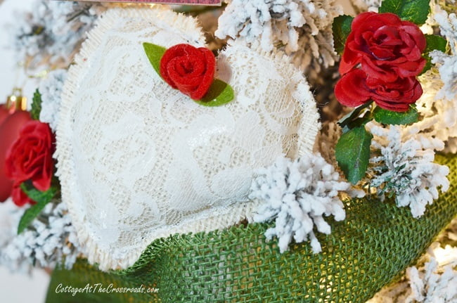 lace covered fabric heart