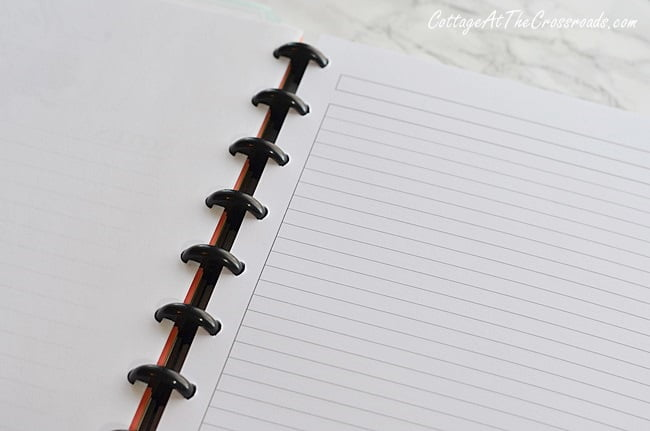 lined paper inside a discbound notebook