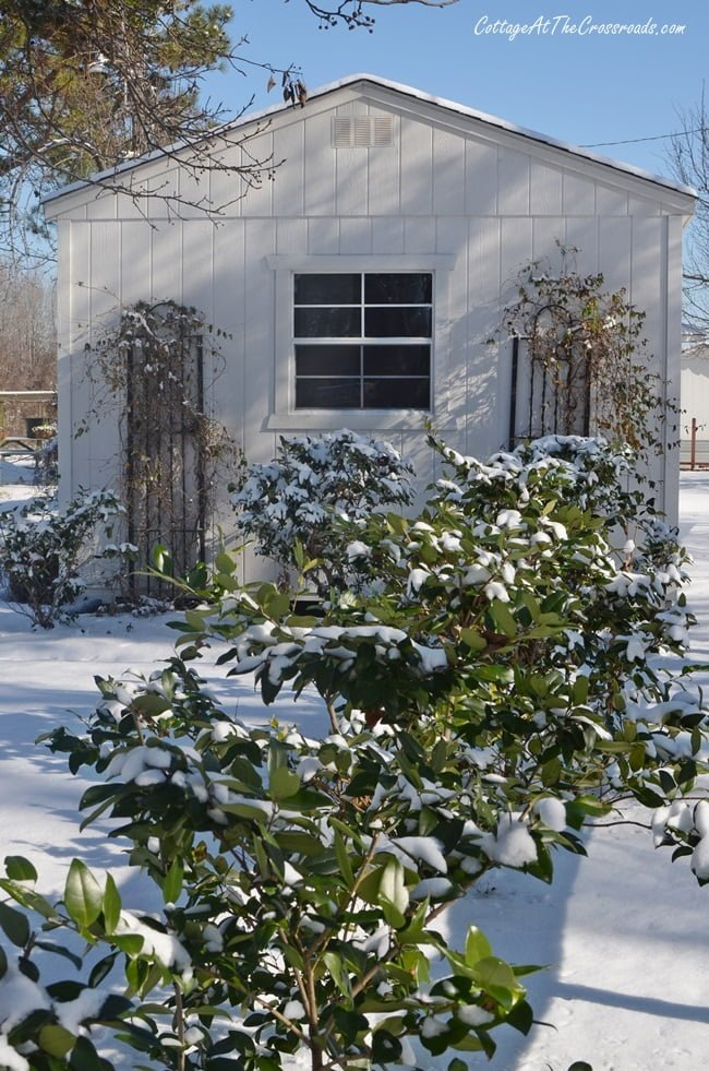 storage building in the snow
