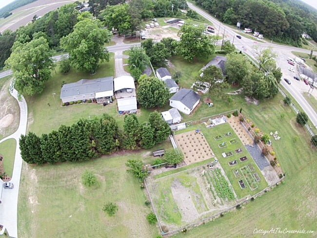 aerial photo of the garden at the Crossroads