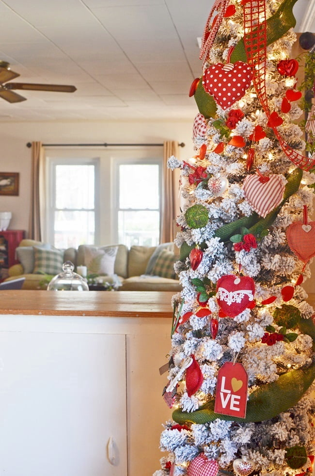 red, white, and green Valentine's Day tree