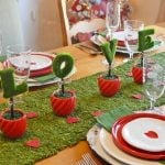 Valentine's Day tablescape with moss covered letters