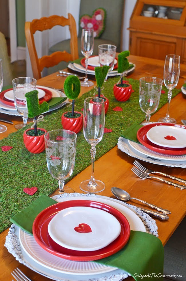 red, white, and green Valentine's Day tablescape