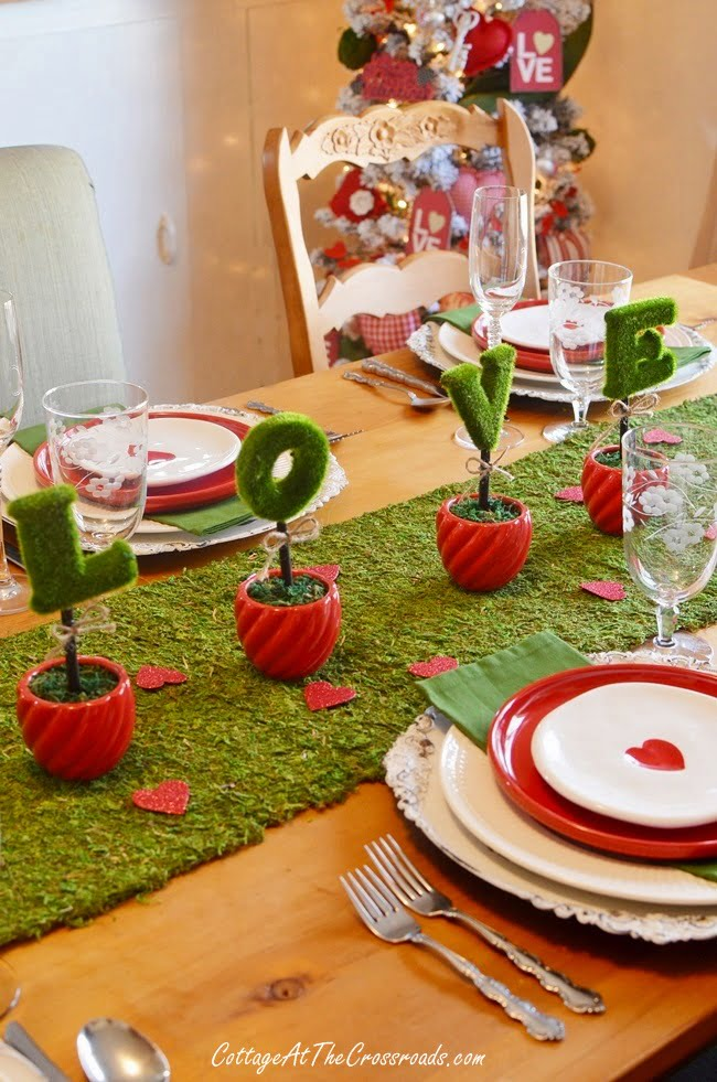 a red, white, and green Valentine's Day tablescape