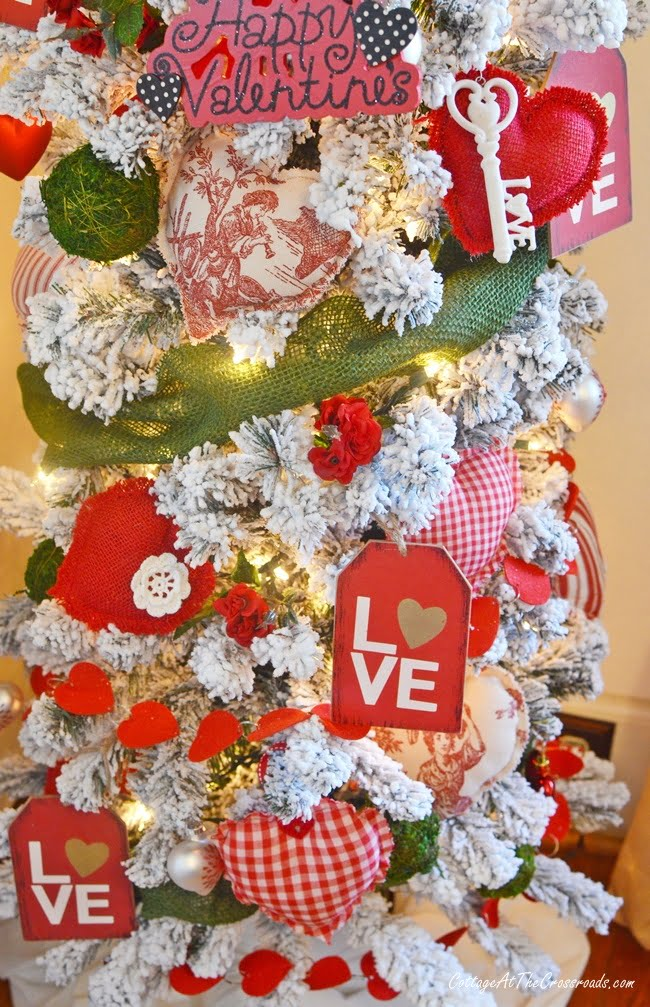 decorations on a Valentine's Day tree
