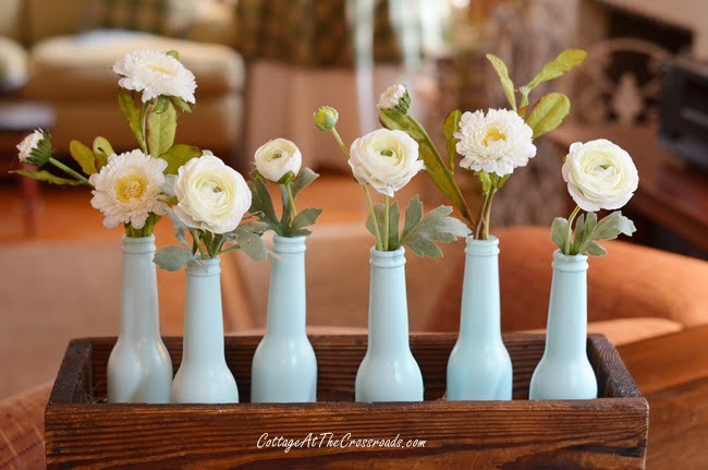 spray painted spring centerpiece