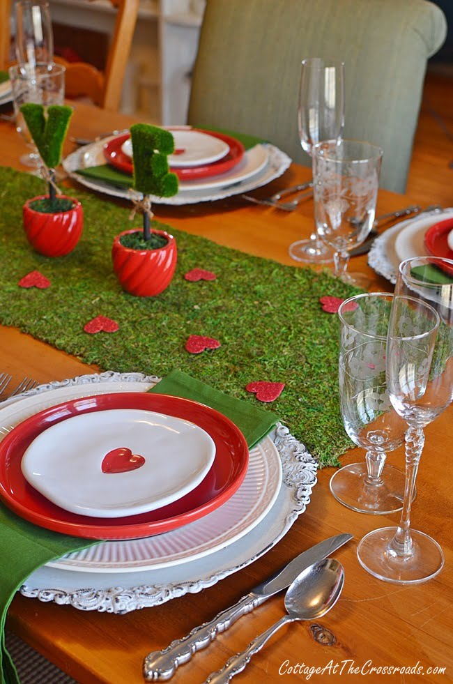 white appetizer plates with a red heart